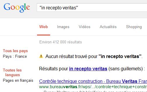 """In recepto veritas"" - Résultats de recherche Google, 2 mars 2015"
